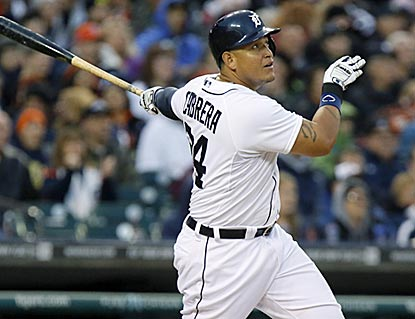 Entering the game with a .206 average, Miguel Cabrera looks more like himself with a 3-for-5 effort, including this home run. (Getty Images)