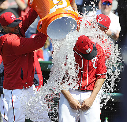The Nats cool off Tanner Roark, who throws his first complete game while extending his scoreless inning streak to 18. (USATSI)