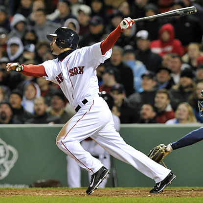 Boston's Shane Victorino hits an RBI double during the sixth inning against the Rays. (USATSI)