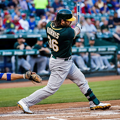 Oakland's Derek Norris hits a two-run double against the Rangers in the first inning. (USATSI)
