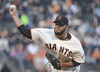 On short notice, Yusmeiro Petit takes the start for the Giants and pitches three-hit ball for six scoreless innings.  (USATSI)