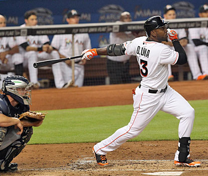 Marcell Ozuna belts a three-run home run in the second inning of the Marlins win over the Braves. (Getty Images)