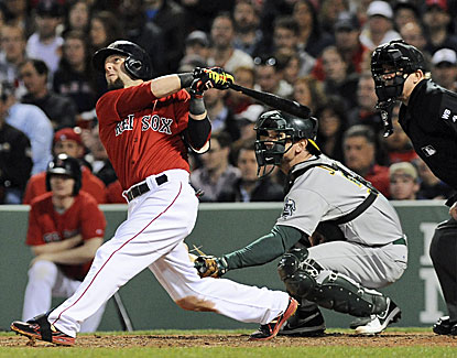 Dustin Pedroia blasts a grand slam in the sixth inning for the 100th home run of his career as Boston rocks Oakland. (USATSI)