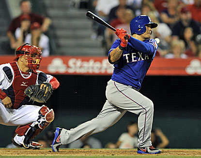 Shin-Soo Choo hits one of two Rangers home runs in the sixth inning to help Texas pick up a road win over the Angels. (USATSI)