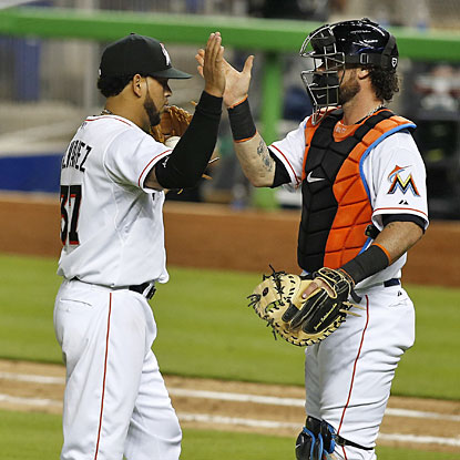 Henderson Alvarez and catcher Jarrod Saltalamacchia celebrate the 3-0 win, Alvarez's second shutout of the season. (USATSI)