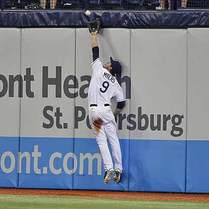 Rays right fielder Wil Myers fails to catch Steve Clevenger's drive, which goes for a double and sets up the decisive inning.  (USATSI)