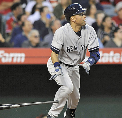 Derek Jeter, who plays his final regular-season game at Angel Stadium, hits his first home run in 161 at-bats. (USATSI)