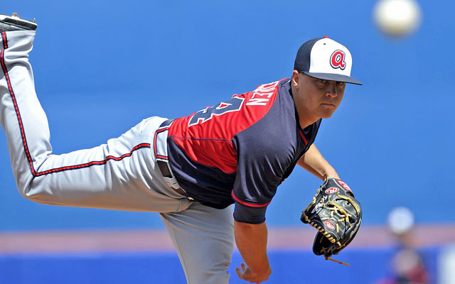 Braves pitcher Kris Medlen in recovering from a second Tommy John surgery.  (USATSI)