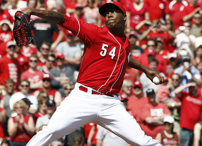 Aroldis Chapman makes his first major-league appearance of the season, and strikes out the side in the ninth inning.  (USATSI)