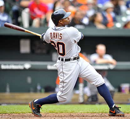 Rajai Davis blasts a solo home run in the sixth inning as the Tigers beat the Orioles at Camden Yards. (USATSI)