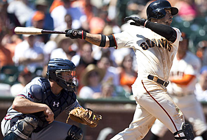 Gregor Blanco steals three bases and scores three runs, becoming the fourth Giants player to accomplish the feat. (Getty Images)