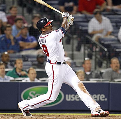 Justin Upton gives the Braves some breathing room in the eighth inning with a two-run home run to right field.  (USATSI)