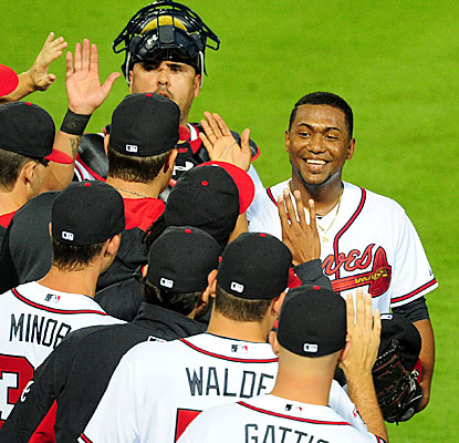 Julio Teheran enjoys the victory after he produces his second career shutout, both this season. (Getty Images)
