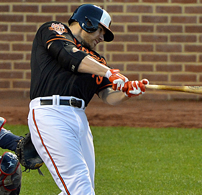 Chris Davis homers and drives in four runs as the O's snap Cleveland's four-game winning streak.  (USATSI)