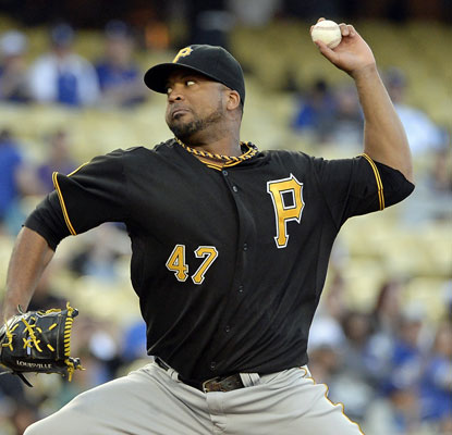 Francisco Liriano picks up his first victory of the season as the Pirates knock off the Dodgers.  (USATSI)