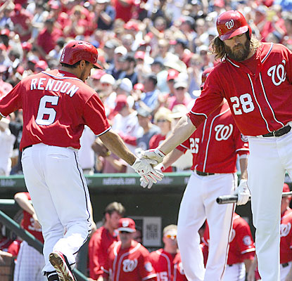 Anthony Rendon and Jayson Werth finish a combined 5 for 8 with a home run, double, 2 RBI and four runs in the blowout. (USATSI)