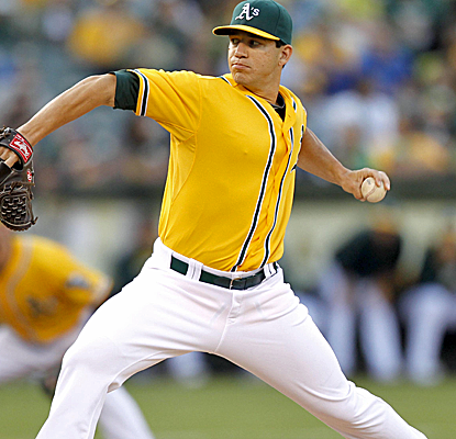 Tommy Millone doesn't have his best stuff, but scatters nine hits over six innings and the A's get the win.  (USATSI)