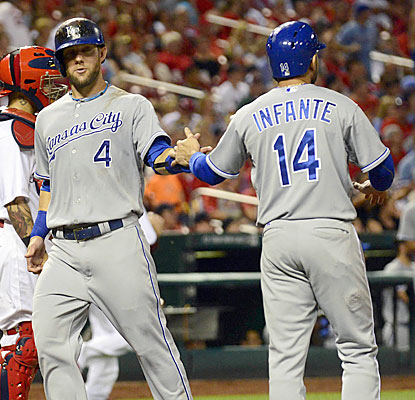 Alex Gordon (left) kicks off a three-run seventh with a solo shot off Shelby Miller. (USATSI)