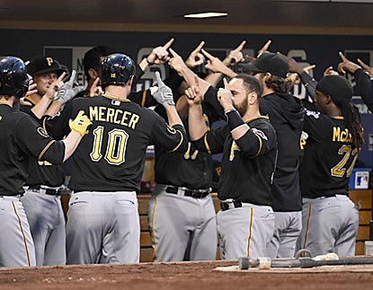 "The Pirates line up and start the Daniel Brian ""Yes!"" chant to congratulate Jordy Mercer for his home run.  (Getty Images)"