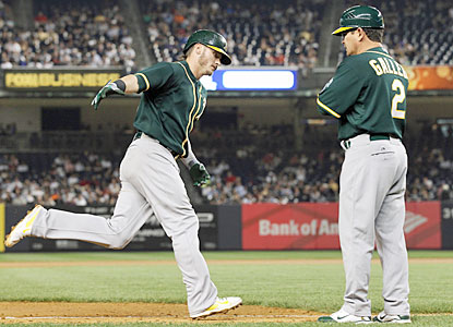 Josh Donaldson, who homers and finishes 3 for 5, helps Oakland rally from four runs down to stun the Yanks. (USATSI)