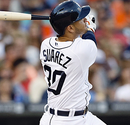 Eugenio Suarez homers for his first major-league hit as the Tigers send the Red Sox to a 5th straight loss.  (USATSI)