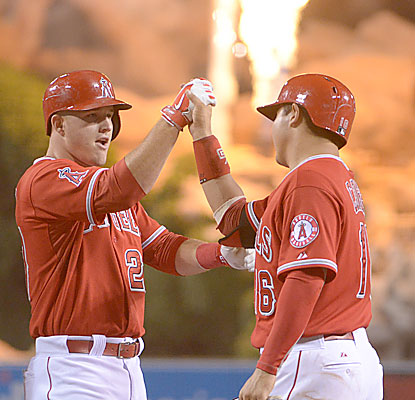 Mike Trout, who sees his home run overturned in the fifth inning, helps the Angels pull closer to the first-place A's.  (USATSI)