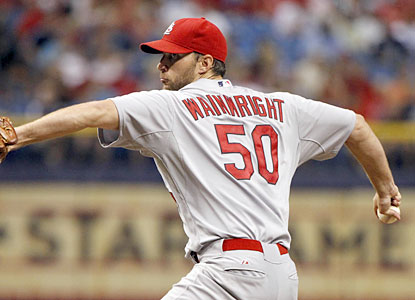 The Cardinals' Adam Wainwright notches an NL-best ninth win as he stymies the lifeless Rays offense. (USATSI)