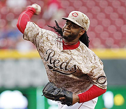 It takes Johnny Cueto only six innings to match his career high of 12 strikeouts, but he leaves after 112 pitches.  (USATSI)