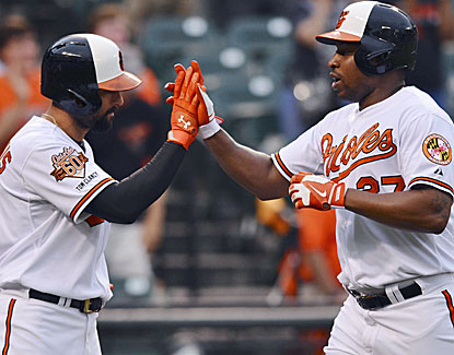 Nick Markakis has two hits and an RBI for the Orioles and Delmon Young homers against Toronto. (USATSI)