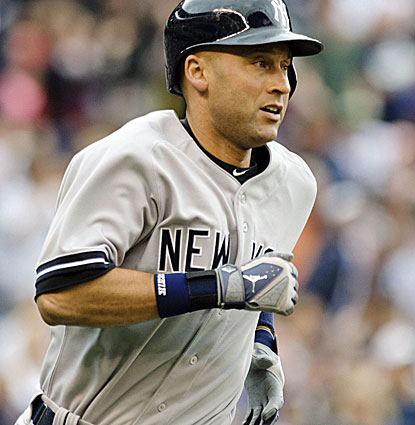 Derek Jeter singles in his first two at-bats before greeting reliever Dominic Leone with a two-run hit in the fourth. (USATSI)
