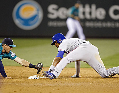 Rangers shortstop Elvis Andrus steals second base before scoring the winning run in the ninth against Seattle. (USATSI)