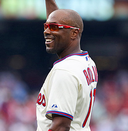 Jimmy Rollins shares a moment with the Phillies fans after singling in the fifth inning for hit 2,235. (USATSI)