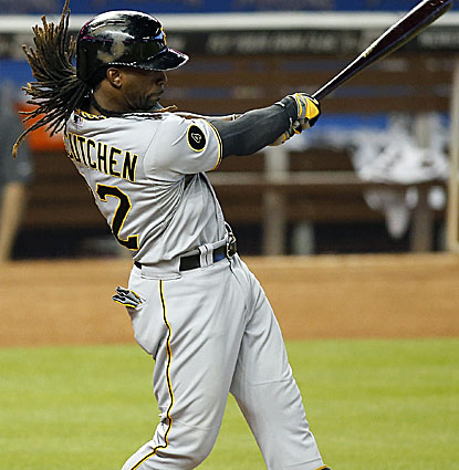 Andrew McCutchen laucnhes a three-run homer against the Marlins, one of 18 hits for the Pirates. (USATSI)