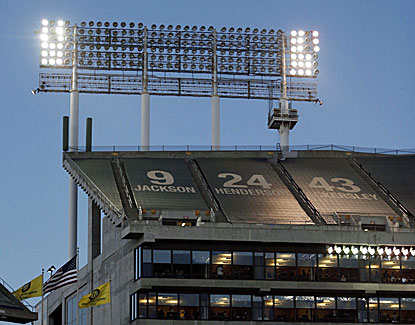 A panel of lights in left field fails, causing a 38-minute delay during the A's 5-1 win over the Yankees. (USATSI)