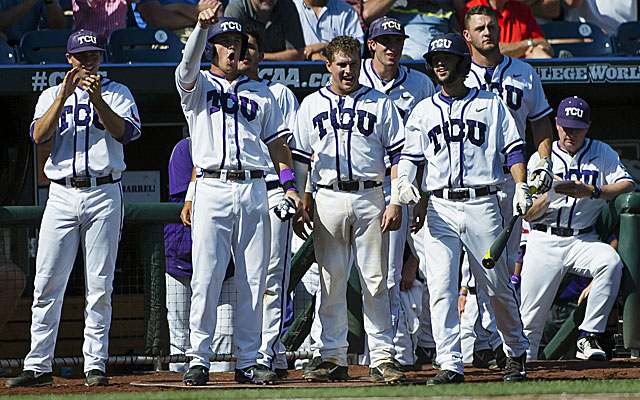 TCU rallies past Big 12 rival Texas Tech in the eighth inning at the College World Series. (USATSI)