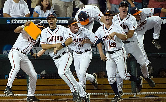 Virginia celebrates a program first -- a victory in a College World Series game. (USATSI)