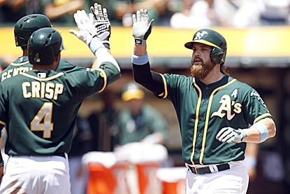 Derek Norris gets the Athletics jump started with a three-run roundtripper in the first inning.  (USATSI)