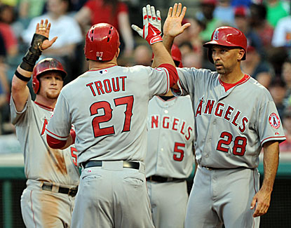 Angels slugger Mike Trout blasts two home runs and extends his hit streak to 12 games in a win over Cleveland. (USATSI)