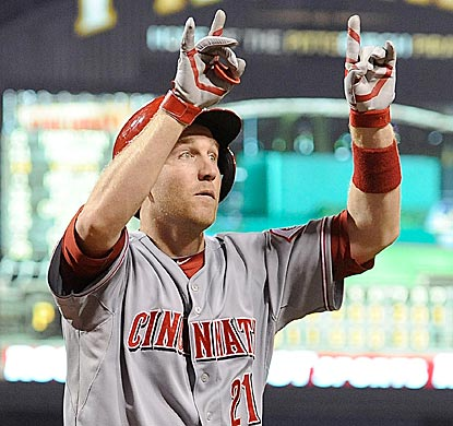 Cincinnati's Todd Frazier exults after hitting the go-ahead home run in the top of the ninth inning.  (Getty Images)