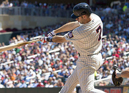 Joe Mauer makes his only hit of the game count. The Twins DH drives in two runs with a double in the fifth. (USATSI)