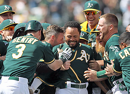 Coco Crisp knocks in the winning run in the 10th for his second walk-off hit of the season, and seventh of his career. (USATSI)