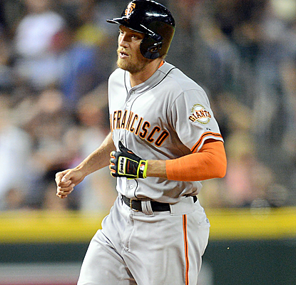 Hunter Pence connects for a mammoth home run to left, helping the Giants end their six-game skid.  (USATSI)