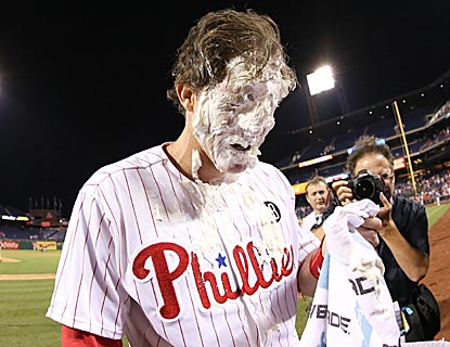 Not even a decorated veteran like Chase Utley is exempt from the all-too-overplayed ritual of hero pieing.  (USATSI)