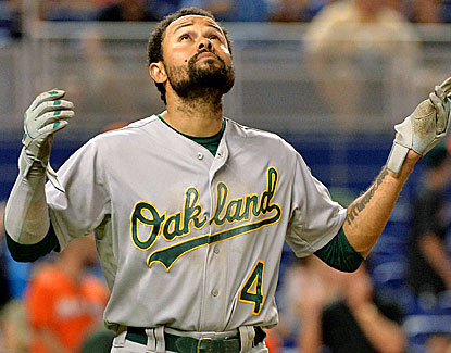 Coco Crisp fills up the box score nicely, contributing a hit, two runs and two walks against Miami. (USATSI)