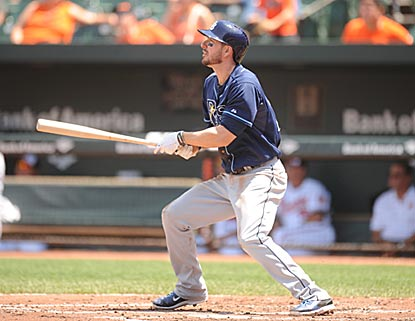 Matt Joyce follows the arc of his home run in the third inning. He winds up 5 for 6 with two home runs.  (Getty Images)