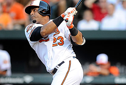 Nelson Cruz, who turns 34, hits his third homer in seven games as he faces his former club. (Getty Images)