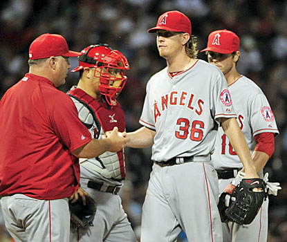 Jered Weaver doesn't have his best stuff on Tuesday, yet still comes away with his ninth win of the season. (Getty Images)