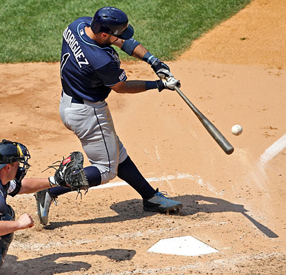 Sean Rodriguez connects for a go-ahead two-run home run in the Rays' fifth consecutive victory.  (USATSI)
