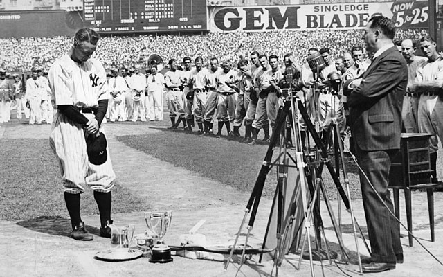 July 4, 1939: Lou Gehrig, the most famous victim of ALS, delivers his speech at Yankee Stadium. (Getty Images)
