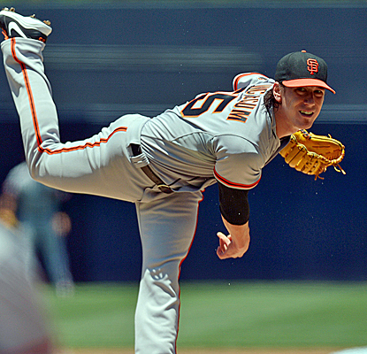 Tim Lincecum has his 23 1/3 scoreless-innings streak snapped but still earns the victory in San Diego.  (USATSI)